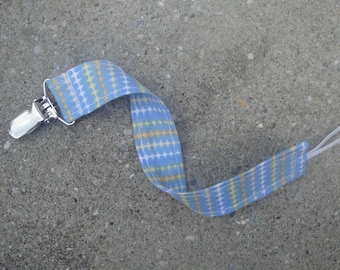 Fabric Pacifier Clip- Blue stripes