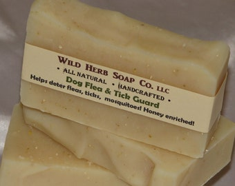 NATURAL Flea DOG Soap - Honey and Oatmeal - Helps REPEL fleas, ticks & more - Gentle, Creamy, Effective