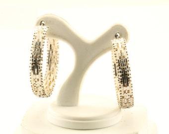 Vintage Herringbone Design Hoop Earrings Sterling Silver ER 34