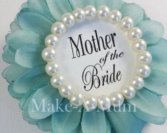 TIFFY BLUE, Bridal Shower Corsage Pin,Bridal shower favors, wedding gift, Mother of the bride, Bride Badge,Team Bride,TIFF/pEARL, mOTB