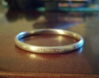 Sterling Silver Childs Etched Design Bangle