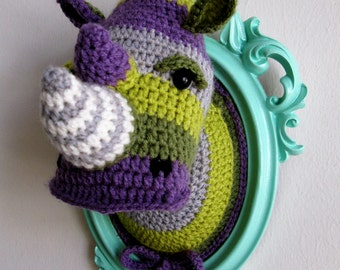Crochet color block rhino head