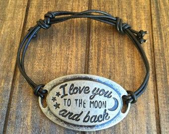 I Love you to the moon and back bracelet, Adjustable bracelet, quote bracelet, friendship bracelet, inspirational bracelet, antique silver