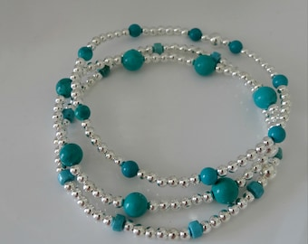 3 silver and blue turquoise stacking bracelets by charmed 925 trio gift set