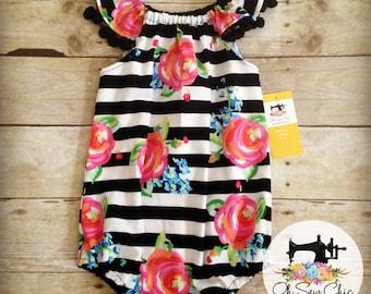 Bubble Romper – Black & White Romper – Flutter Sleeve Romper for Toddler, Little Girl, Baby Girl – Watercolor Floral Romper – Summer Sunsuit