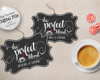 The Perfect Blend Favour Tags, Wedding Favour Tags, Wedding Decor, Wedding Printables, Wedding Thank You Tags, Coffee Favour, Digital Files