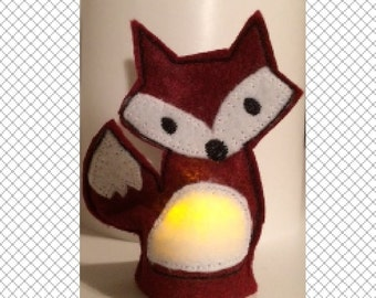 Red Fox Flameless Tealight Cover - ITH - embroidery design - instant download - 4x4 hoop - In The Hoop