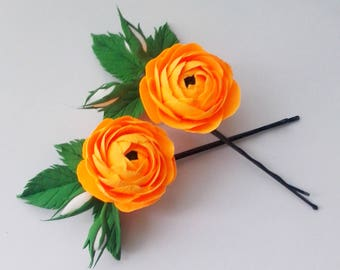 Hot orange ranunculus hair pins, ranunculus hair accessory, bridal hair bobby pins