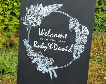 Chalk board Welcome to our Wedding sign