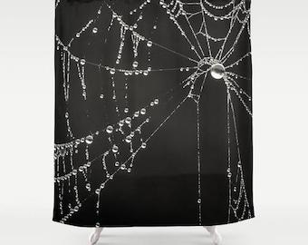 Beau Gothic Shower Curtain, Cob Web Shower Decor, Nature Bathroom Decor,  Designer Shower Decor, Printed Shower Curtain, Goth Black Bathroom