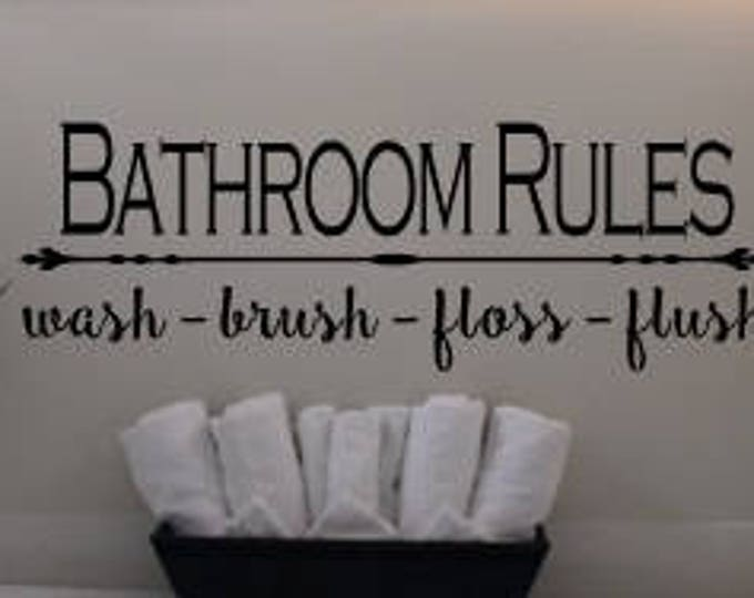 Bathroom Rules Vinyl Decal, Wall Decal, Wall Sign, Home Decor, Home Decal