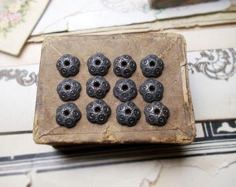 Rustic Oxidized Bead Caps - 12 Dark Patina Silver Tone Scalloped Disc Caps - 8mm - Age Worn Dark Primitive Textured Bead Caps - blastoise