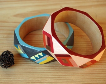 Hand painted wooden bracelet, geometric wood bracelet, red wood bangle, colorful boho gift for her, gift idea for sister best friend wife