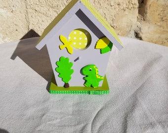 birdhouse piggy bank with dinosaur (ref TC013)