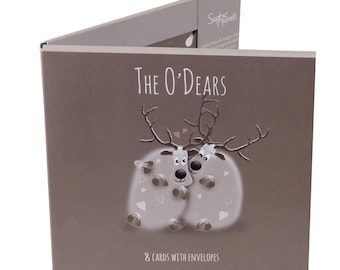 The O'Dears Card Pack - Christmas Card Pack Containing 8 Cards/4 Designs & Envelopes. Cute and Quirky Reindeer Cards.