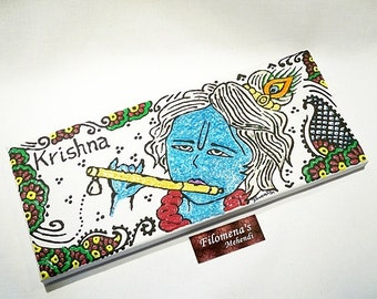 Krishna canvas, Hare Krishna, Krishna painting, Indian wall art, Indian God, Gita, Hindu deity, Bhagavad Gita, Hand drawn art, Diwali decor