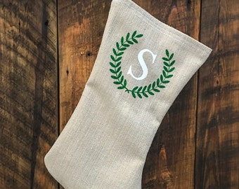 Laurel Wreath and Letter Christmas Stocking Hand Made Christmas Stocking Personalized Stocking Merry Christmas Monogram North 2 South Design