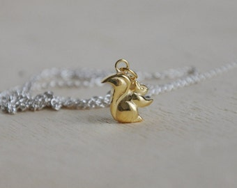 Squirrel necklace 18k gold and sterling silver