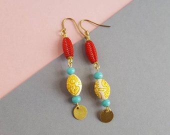 Vintage beads and brass earrings