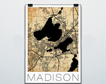 Madison Wisconsin Map - Print - Poster - Vintage - Sepia - Street Map