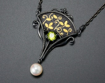 Gold inlay and Keum Boo necklace with a peridot and a akoya pearl, nature inspired necklace, shakudo iroage necklace