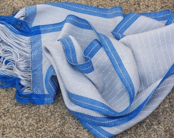Reflective blue and silver scarf - Night safe cobalt and grey stripe