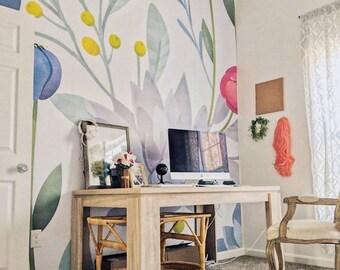 Succulent Mural - Floral Scene Wallpaper, Garden Mural