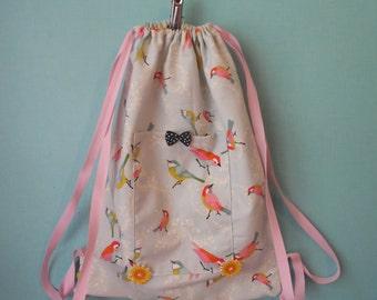 Pattern bird cotton backpack