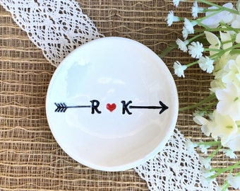 Ring Dish - Monogram - Heart and Arrow - Ceramic Ring Dish - Newly Engaged Couple Gift - Newly Married Couple Gift