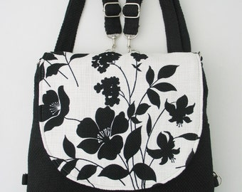 black and white purse, crossbody bag ,backpack purse converts to womens messenger, zipper shoulder bag, floral crossbody bag, ready to ship