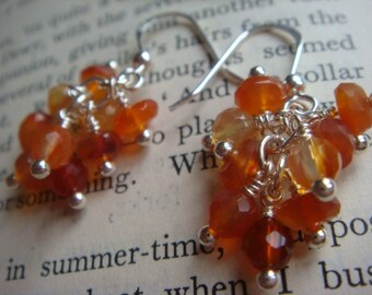 Carnelian Cluster Earrings