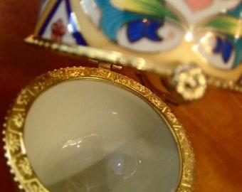 Egg Faberge way old porcelain / / Vintage porcelain egg printed