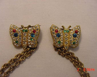 Vintage Rhinestone Chained Duet Butterfly Brooches  18 - 512