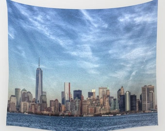 New York Tapestry, HDR Manhattan Tapestry, Landscape Wall Tapestry, City Photography, urban, Blue wall art,modern,dreamy,outdoor,garden,dorm