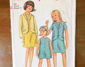 Vintage Sewing Pattern Simplicity 7039 Girl's Dress 1960s Jacket Outfit Size 8 26