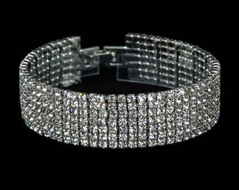 Melissa 7 Row Clear Crystal Competition Bracelet for IFBB, NPC, and NANBF Bikini Fitness Bodybuilding Contests