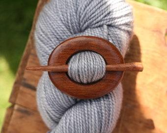RESERVED- Mahogany Shawl Pin - Handmade Wooden Shawl Pin -Wood Shawl Pin- Eco Knitting Supplies