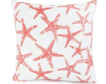 Beach Throw Pillow Cushion COVER Decorative Throw Pillow Salmon/Coral Starfish Nautical Couch Sofa Pillow Bedding ALL SIZES Cottage Decor
