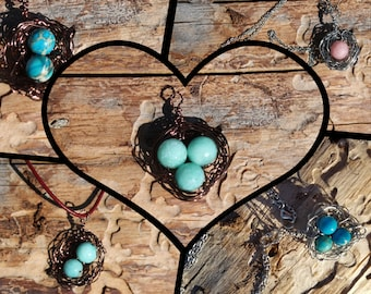 Mother's Day/ Family Wire Wrapped Bird's Nest Pendant Necklace