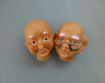 Doll Head Old Man and Woman Pair Grandpa Bald Grandma Painted Face Craft Destash Vintage Craft Supplies Set