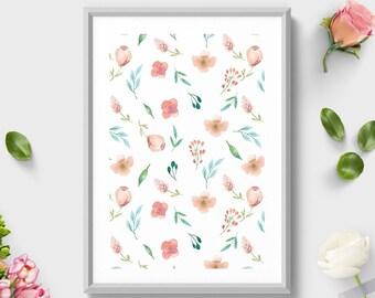 Wall Art Print, Coral Mint Flowers Pattern, Watercolor Print, Floral Print, Pattern Decoration, Pattern Art,Pattern Decoration,Botanical Art