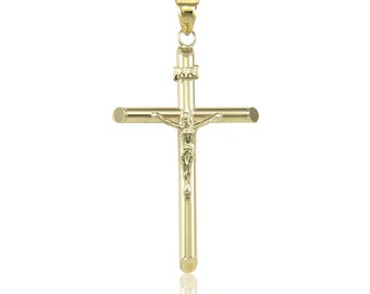 14K Yellow Gold Crucifix Cross Pendant - INRI Jesus Christ Polished Necklace Charm