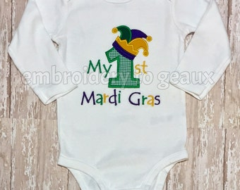 Purple, Green and Gold First Mardi Gras Child's T-shirt or Baby Bodysuit, First Mardi Gras, Mardi Gras Kid's Shirt, Mardi Gras Baby