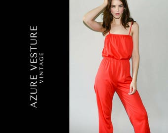 1970s Jumpsuit. 70s Romper, Playsuit. XS Small. Retro Red One Piece.