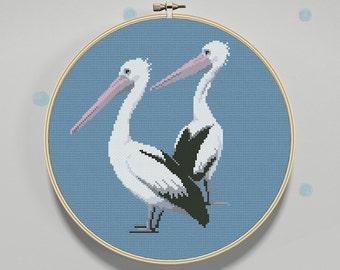 Easy Cross Stitch Pattern Pelicans, PDF, Instant Download, cross stitch bird