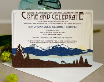 Rocky Mountain Blue and Green Deer Landscape with Sunset 5x7 Wedding Invitation with Envelope - BP1