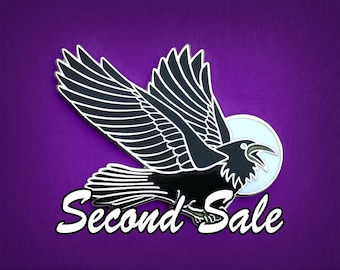 Seconds Sale - Pin - Raven - Crow - Black Bird - Blackbird - Hard Enamel - Goth pin - Black - Witch - Familiar - Elegant - Moon - Lunar