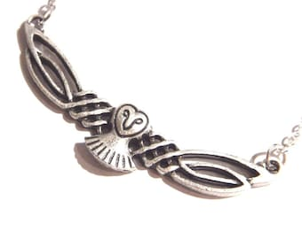 Celtic Knot Barn Owl on silverplated chain necklace 7U