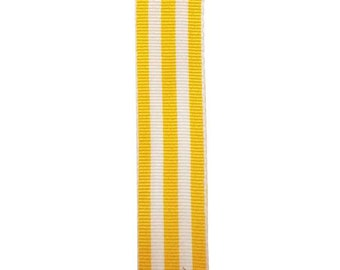 """7/8"""" - Yellow Carnival Stripe Grosgrain Ribbon - Yellow and White Stripes - Offray"""