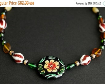 MOTHERS DAY SALE Floral Viking Cascade Necklace in Dark Red, Amber, and Green. Norse Treasure Necklace 21.5 inches (54.6 cm) - Historical Re